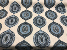 Traveler Emblem Indigo Blue Print Drapery Upholstery Fabric by the yard