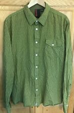 Burton Mens Long Sleeve Button-Down 100% Cotton Shirt moss green striped Size XL