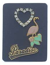 "NWT Marc Jacobs ""Paradise, Flamingo, and Crystal Heart"" 3 Piece Brooch & Pin Set"