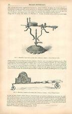 Mouchettes à Support & Roulettes du XVIIe & XVIIIe Siècle GRAVURE OLD PRINT 1878