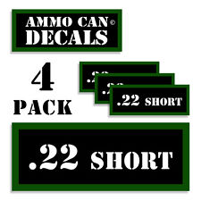 """22 SHORT  Ammo Can 4x Labels for Ammunition Case 3""""x1.15"""" stickers decals 4 pack"""