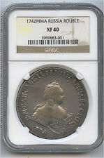 1742 MMA Russia Silver Rouble NGC XF 40 Nice Details