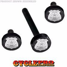 Black Billet Fairing Windshield Hardware Kit 14-Up Harley Touring - Police Badge