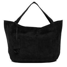 BACCINI Handtasche Ledertasche Damentasche Wildleder Schultertasche groß schwarz