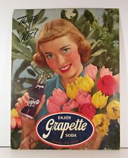 ca1950 GRAPETTE GRAPE SODA PAPERBOARD ADVERTISING SIGN WITH BEAUTIFUL WOMAN