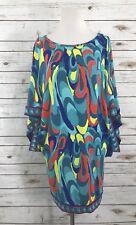 trina turk Tunic dress Size P Casablanca Waterbird Mini Stretch Blue Green Red