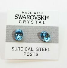 8mm Light Blue Crystal Oval Stud Earrings Made with SWAROVSKI ELEMENTS Gift