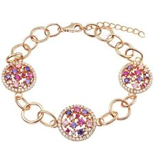 Sterling Silver Rose Gold Finish Pink and Purple Cubic Zirconia Link Bracelet