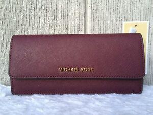 NEW-AU Michael Kors Jet Set Flat Saffiano Leather Wallet PLUM GOLD $128+