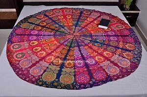 Indian Multi Color Patchwork Mandala Tapestry Round Beach Throw Hippie Yoga Mat