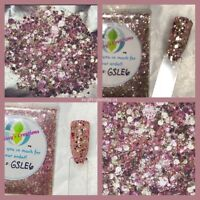 LIMITED EDITION Rose Gold Diamond Chunky  Nail Art Glitter Mix Acrylic Gel NP