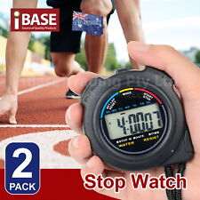 2x Handheld Stopwatch Digital Chronograph Sports Counter Timer Watch