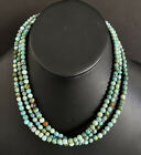 Sterling Silver Multi Strand Turquoise Bead Necklace. 18 inch
