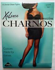 Charnos XeLence 15 Denier Plu Tights Plus Size 89 Nylon 10 Elastane 1 Cotton Black Light Shape (16-20)