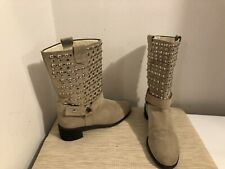 💰flash Sale! STUART WEITZMAN Silver Studded Moto Boots Taupe MSRP $595 Size 9.5