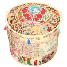 """Indian Round Pouf Cover Patchwork Embroidered Corner Ottoman Bohemian 16"""" Beige"""