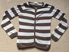 Crew Clothing Grey Brown Stripe Cardigan Jumper UK 8