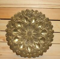 Vintage hand made floral brass ornate wall hanging plate