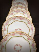 6 Limoges France Porcelain Rose Plates Gold Victorian