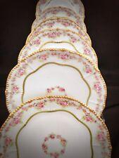 6 Limoges France Porcelain Rose Plates Gold Victorian