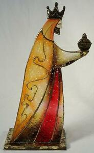 Large Wiseman,Colored Glass w/Metal Detailing  (Red-Gold)/Candleholder