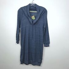 Alternative Apparel Campfire Dress Cowl Neck Sweatshirt Tunic Blue Sz S NEW