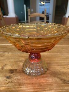 Vintage Orange Glass Fruit Bowl Centerpiece Bowl
