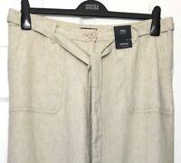 Ladies Crop Cargo Trousers M&S Flax Fleck Linen Blend Soft 22 BNWT Marks Women