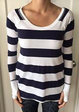 Lululemon Size 4 Tea Lounge Pullover Long Sleeve LS Shirt Blue White Stripe EUC