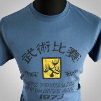 Enter the Dragon Hans Tournament Retro Movie T Shirt Bruce Lee MMA Blue Kung Fu
