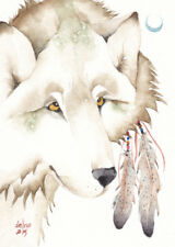"""ACEO Giclee PRINT watercolor 2.5"""" x 3.5"""" Delrio spirit totem wolf 'THUNDER MOON'"""