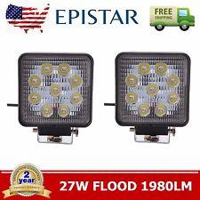 2pcs 27W FLOOD Lamp Led Work Light Bar Square Car Boat Truck Offroad SUV 12V 24V