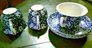 "ANTIQUE LOT OF 3 BLUE CALICO ""MADE IN ENGLAND"" CUP & SAUCER SETS BLACK LABEL"