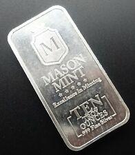 Mason Mint 10 oz Silver Bar .999 Fine Silver Bar In OMP