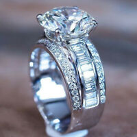 Luxury Women 925 Silver Wedding Engagement Rings White Sapphire Ring Size 6-10