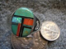Light  Weight Mens Ring Sterling Turquoise Spiny Inlay Navajo Mary L Size 11 3/4