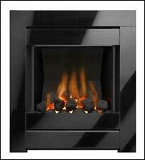 BLACK MODERN INSET GAS FIRE COAL FIREPLACE OPEN FRONTED GLASS FRAME LIVING FLAME