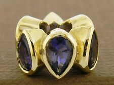 Bd032 - Authentic Designer Genuine 9ct Gold NATURAL Iolite HUGE Bead Purple Blue