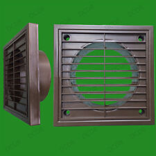 """2x 100mm 4"""" Spigot Ducting Brown Extractor Fan Ventilation Fixed Louvre Grille"""