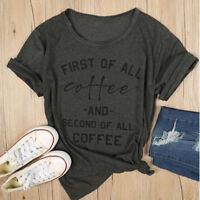 First of All Coffee Funny Stylish Women Short Sleeve Sports T Shirt  Deep Grey