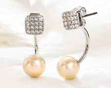 Equilibrium Platinum Plated Earrings Reversible 2 Design Pearl Cube CZ Stone