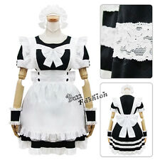 Lolita Black Mixed White Maid Bowknot Headband Apron Cosplay Costume Outfit
