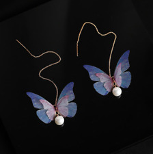 Gold Dangle Butterfly Threader Earrings, Printed Chiffon, Bar Chain Pink Pearl