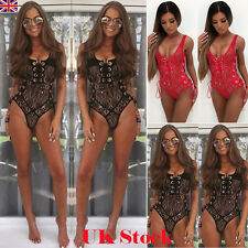 New Strappy Plunge Lace Up Full Lace Bandage Bodycon Bodysuit Women Leotard Tops