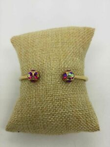 Kate Spade New York Yellow Goldtone Red Iridescent Endcap Crystals Cuff Bracelet