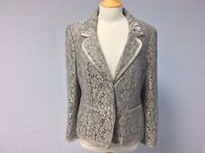 Silver Grey Lace Evening Jacket - Size 16