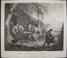 Die Austernesser Austern Gastronomie Orig Kupferstich Teissier 1778 Gourmet