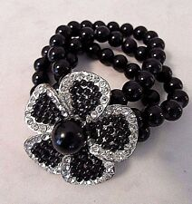 Black Triple Strand Glass Beads Corsage Large Rhinestone Flower Bracelet with