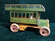 Vintage Strauss Tin Wind Up Inter-State Bus No. 98