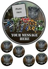 Transformers cake topper , edible icing, 7.5 inch cake round and cupcake toppers